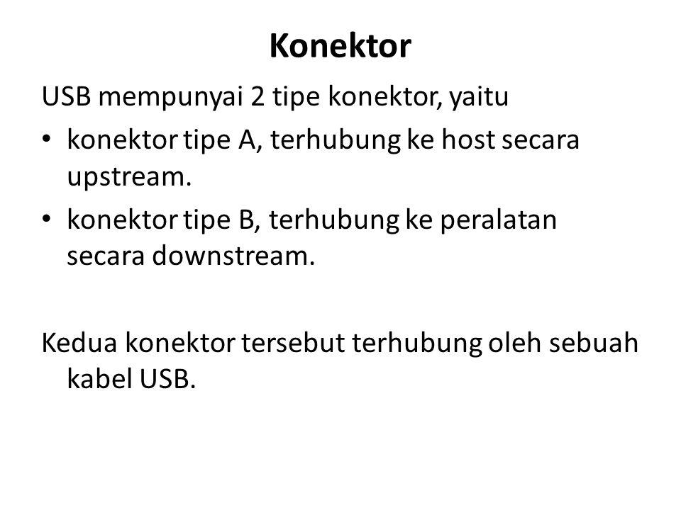 Konektor USB mempunyai 2 tipe konektor, yaitu konektor tipe A, terhubung ke host secara upstream. konektor tipe B, terhubung ke peralatan secara downs