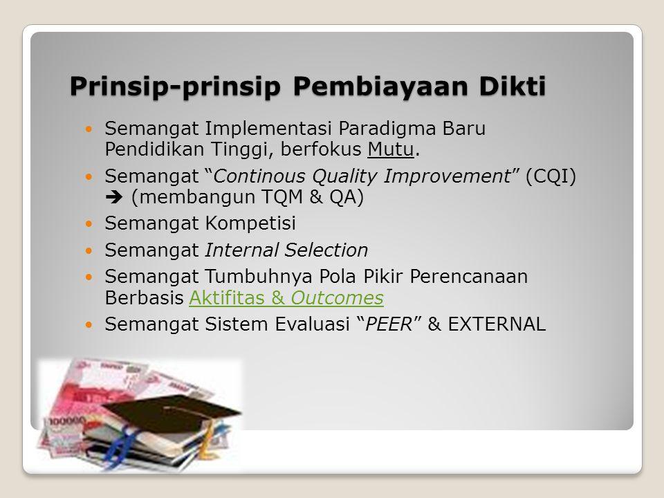 """Prinsip-prinsip Pembiayaan Dikti Semangat Implementasi Paradigma Baru Pendidikan Tinggi, berfokus Mutu. Semangat """"Continous Quality Improvement"""" (CQI)"""