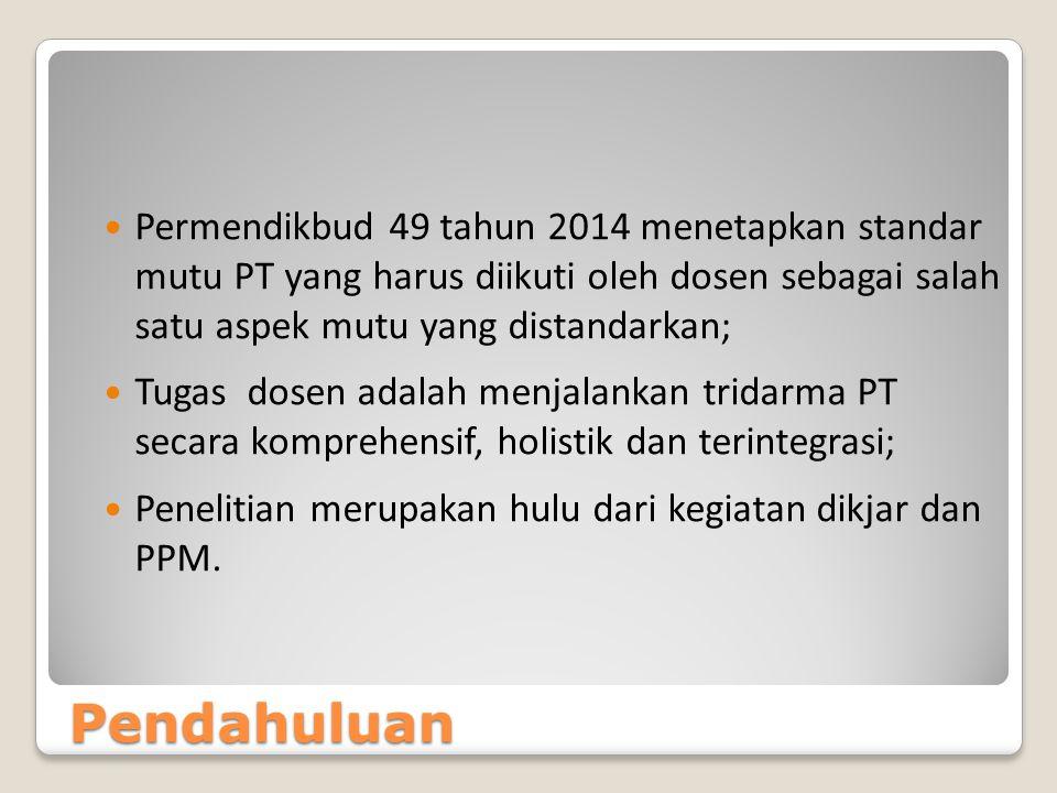 Pendahuluan Permendikbud 49 tahun 2014 menetapkan standar mutu PT yang harus diikuti oleh dosen sebagai salah satu aspek mutu yang distandarkan; Tugas