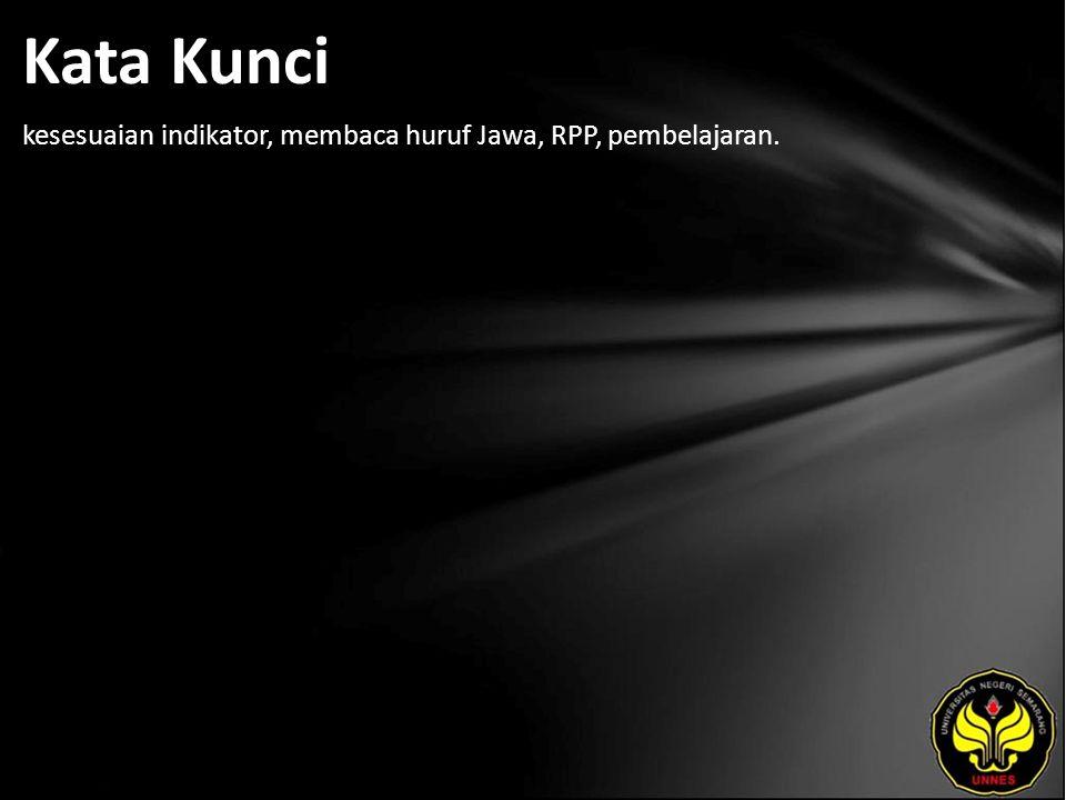 Kata Kunci kesesuaian indikator, membaca huruf Jawa, RPP, pembelajaran.