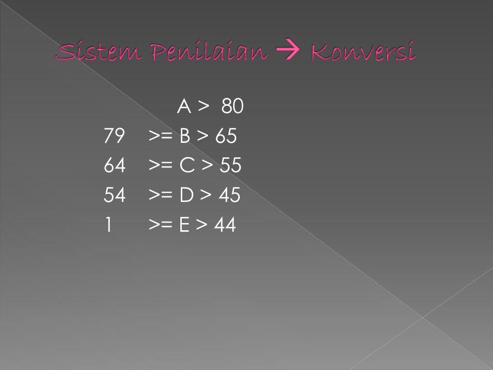 A > 80 79 >= B > 65 64 >= C > 55 54 >= D > 45 1 >= E > 44