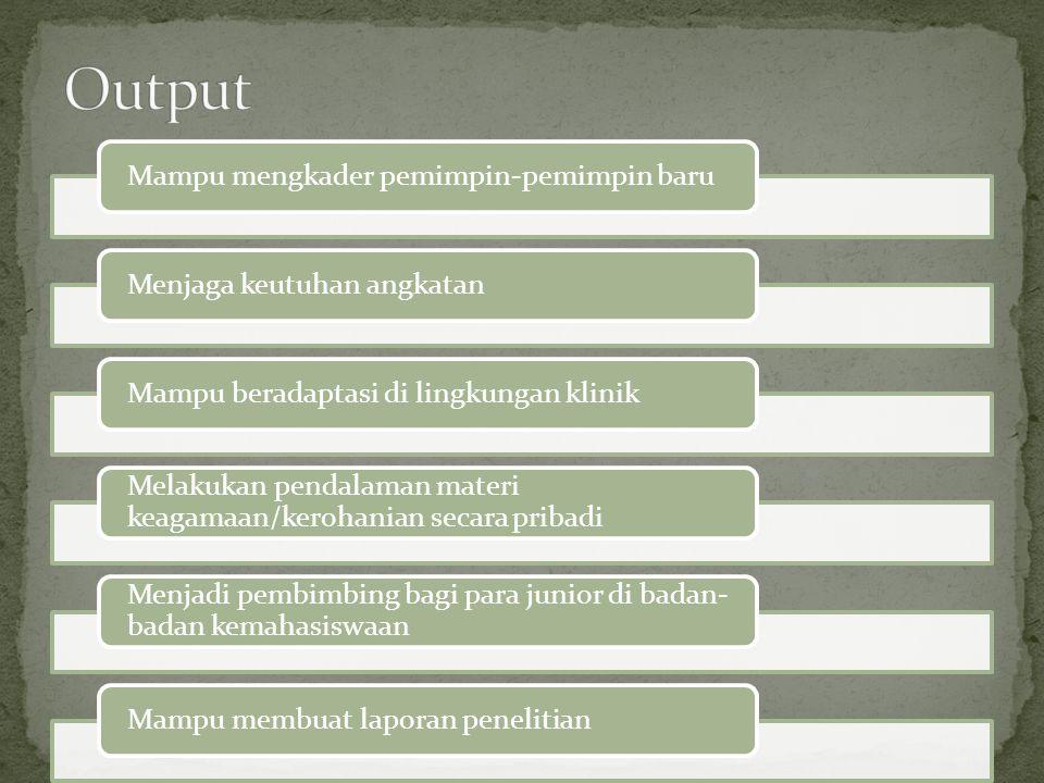 Mampu mengkader pemimpin-pemimpin baruMenjaga keutuhan angkatanMampu beradaptasi di lingkungan klinik Melakukan pendalaman materi keagamaan/kerohanian secara pribadi Menjadi pembimbing bagi para junior di badan- badan kemahasiswaan Mampu membuat laporan penelitian