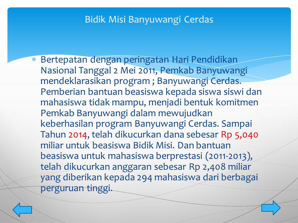  Bertepatan dengan peringatan Hari Pendidikan Nasional Tanggal 2 Mei 2011, Pemkab Banyuwangi mendeklarasikan program ; Banyuwangi Cerdas. Pemberian b