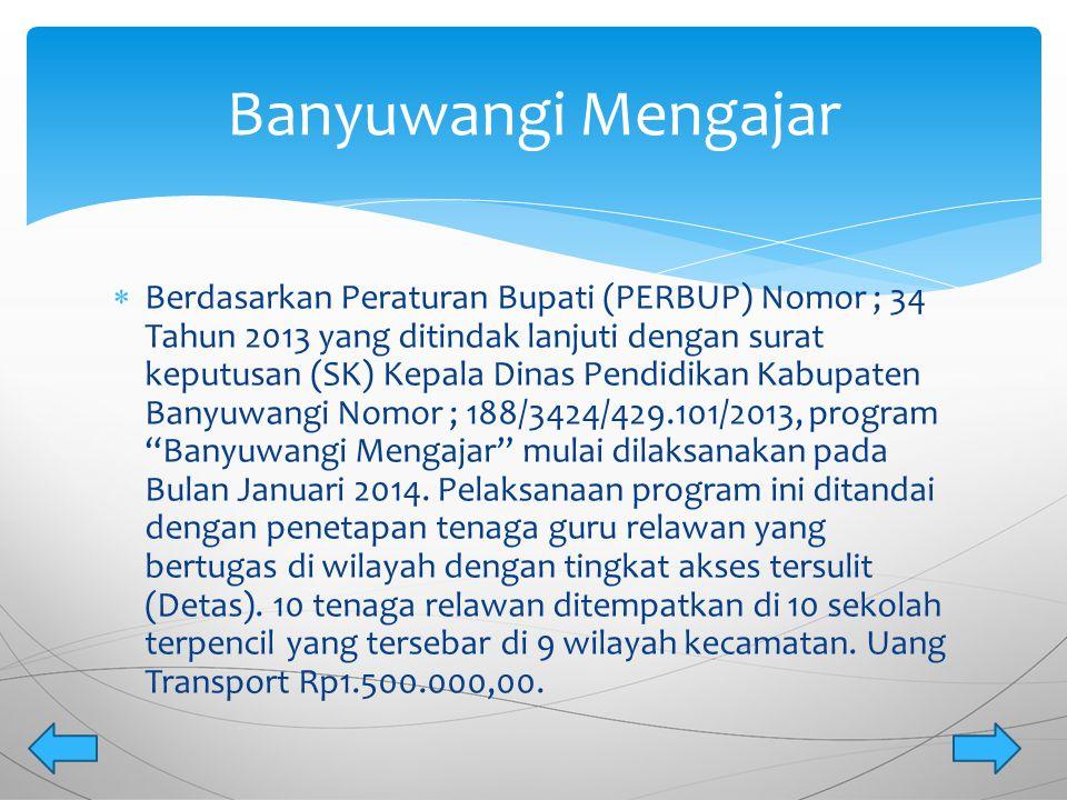  Berdasarkan Peraturan Bupati (PERBUP) Nomor ; 34 Tahun 2013 yang ditindak lanjuti dengan surat keputusan (SK) Kepala Dinas Pendidikan Kabupaten Bany