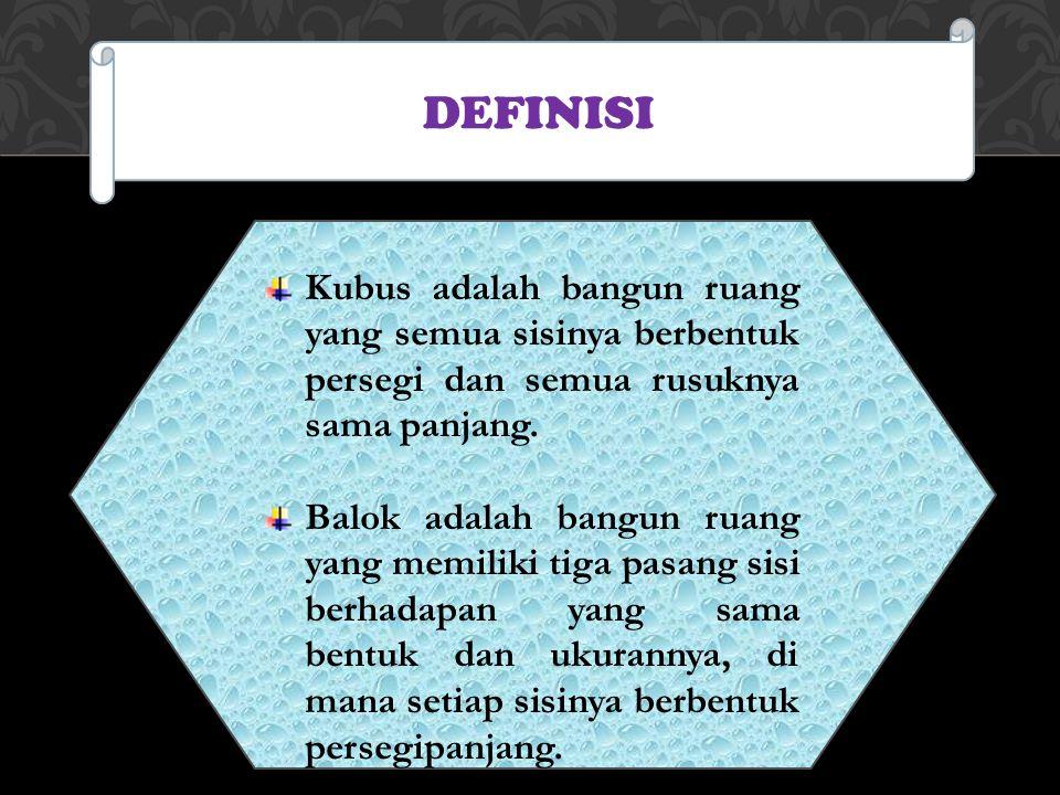 DEFINISI Kubus adalah bangun ruang yang semua sisinya berbentuk persegi dan semua rusuknya sama panjang. Balok adalah bangun ruang yang memiliki tiga