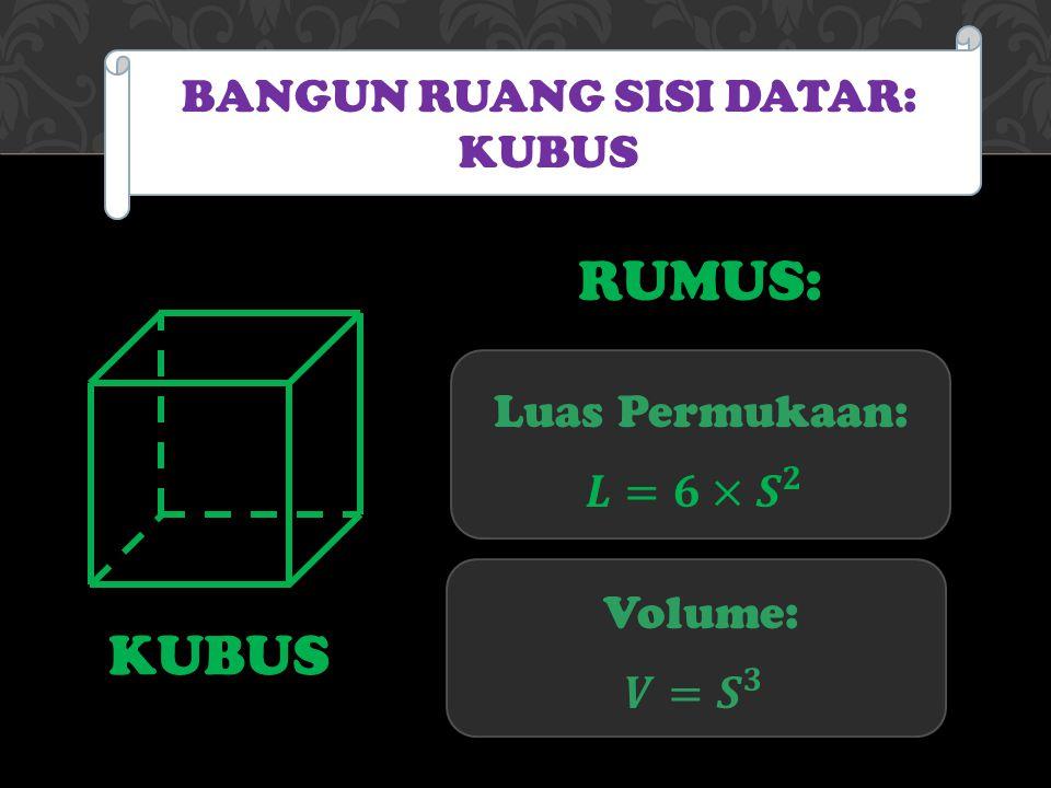 KUBUS BANGUN RUANG SISI DATAR: KUBUS Luas Permukaan: Volume: RUMUS: