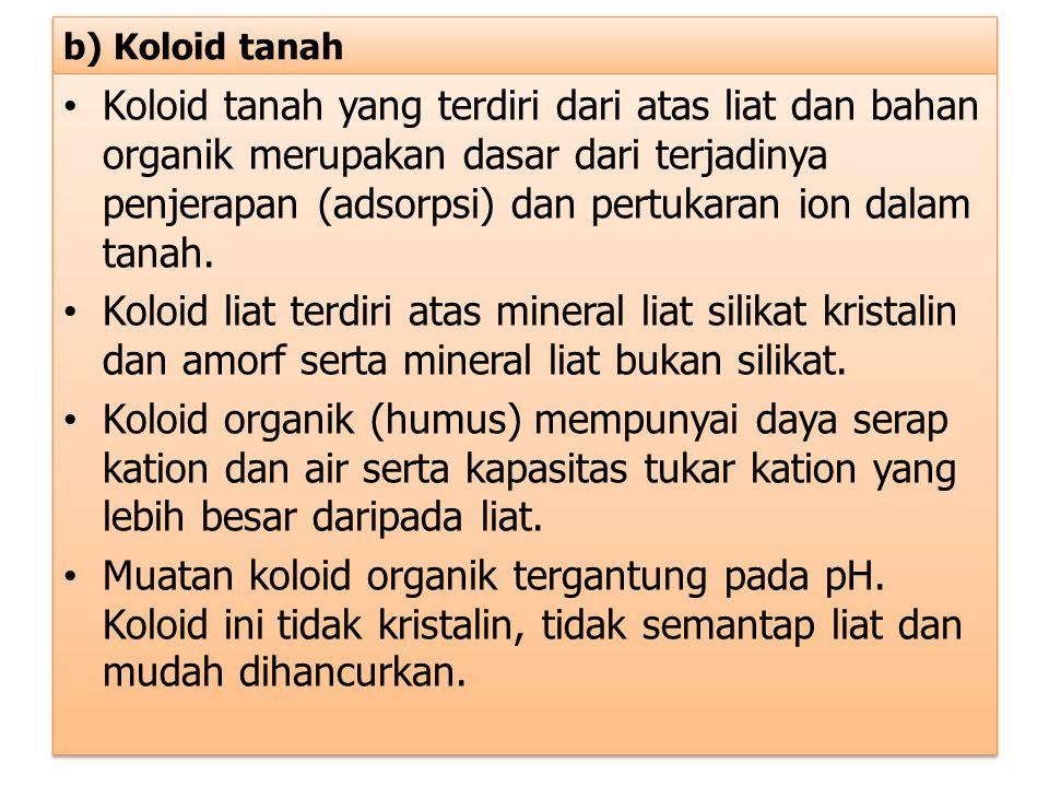 b) Koloid tanah Koloid tanah yang terdiri dari atas liat dan bahan organik merupakan dasar dari terjadinya penjerapan (adsorpsi) dan pertukaran ion da