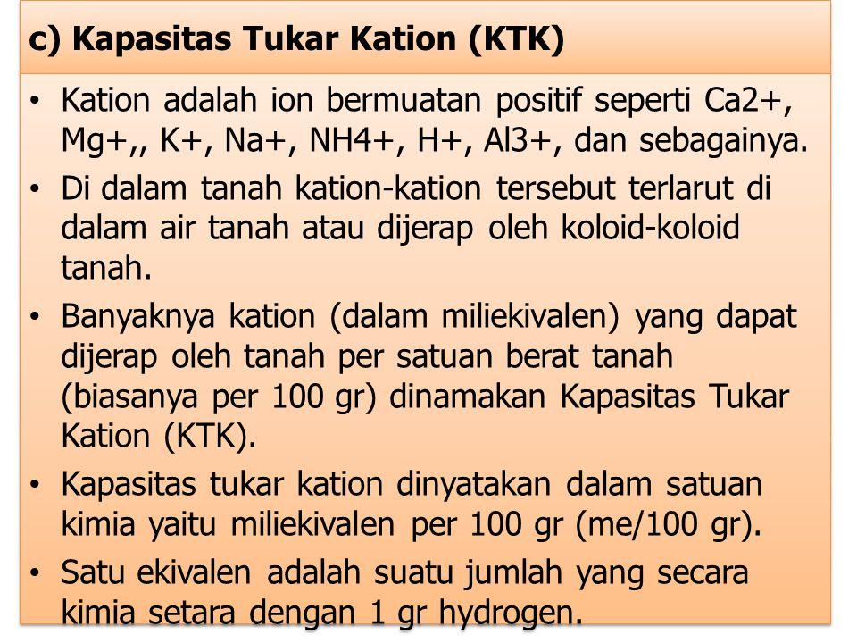 c) Kapasitas Tukar Kation (KTK) Kation adalah ion bermuatan positif seperti Ca2+, Mg+,, K+, Na+, NH4+, H+, Al3+, dan sebagainya. Di dalam tanah kation