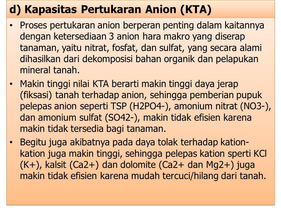d) Kapasitas Pertukaran Anion (KTA) Proses pertukaran anion berperan penting dalam kaitannya dengan ketersediaan 3 anion hara makro yang diserap tanam