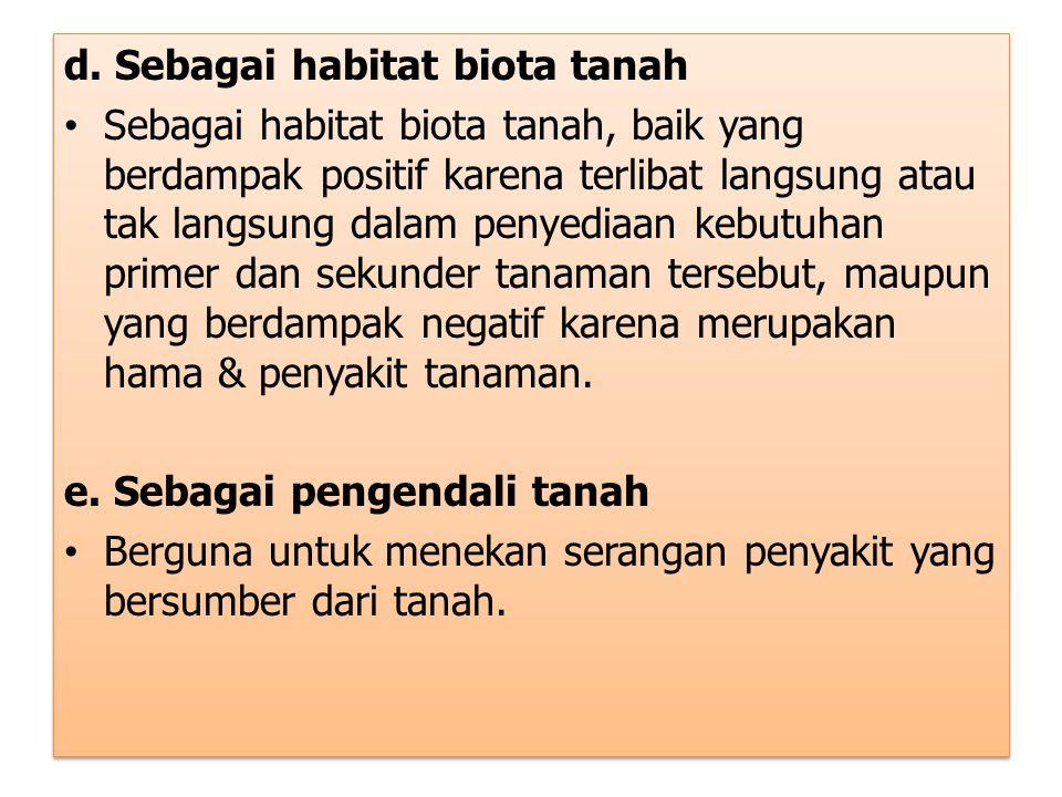 d. Sebagai habitat biota tanah Sebagai habitat biota tanah, baik yang berdampak positif karena terlibat langsung atau tak langsung dalam penyediaan ke