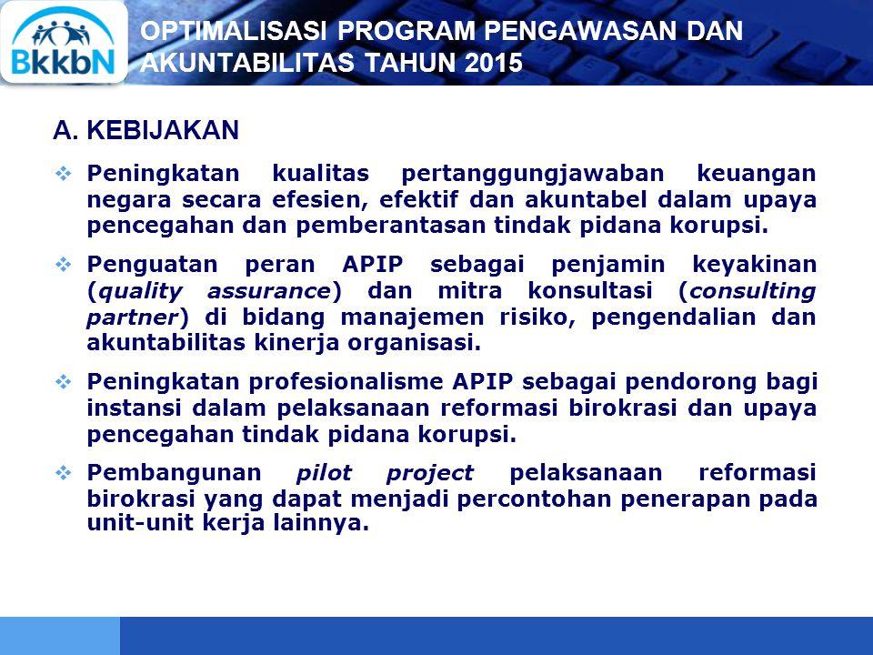 LOGO OPTIMALISASI PROGRAM PENGAWASAN DAN AKUNTABILITAS TAHUN 2015  Peningkatan kualitas pertanggungjawaban keuangan negara secara efesien, efektif da