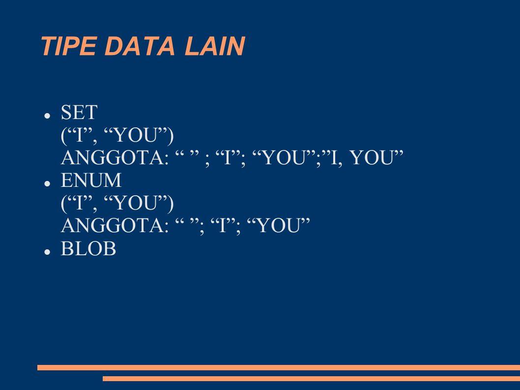 """TIPE DATA LAIN SET (""""I"""", """"YOU"""") ANGGOTA: """" """" ; """"I""""; """"YOU"""";""""I, YOU"""" ENUM (""""I"""", """"YOU"""") ANGGOTA: """" """"; """"I""""; """"YOU"""" BLOB"""