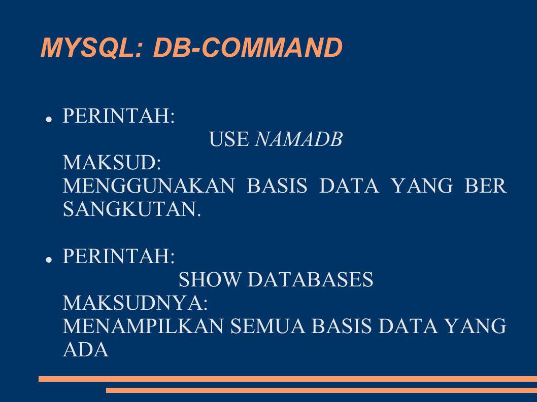 MYSQL: DB-COMMAND PERINTAH: USE NAMADB MAKSUD: MENGGUNAKAN BASIS DATA YANG BER SANGKUTAN. PERINTAH: SHOW DATABASES MAKSUDNYA: MENAMPILKAN SEMUA BASIS