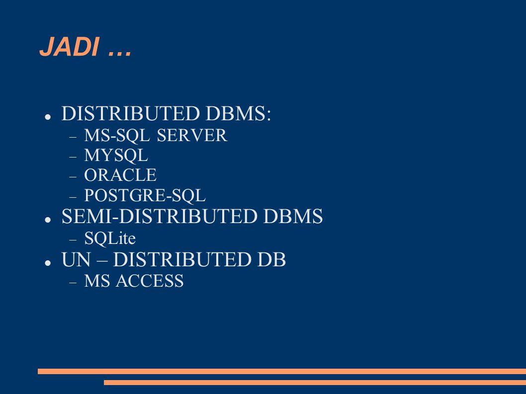 JADI … DISTRIBUTED DBMS:  MS-SQL SERVER  MYSQL  ORACLE  POSTGRE-SQL SEMI-DISTRIBUTED DBMS  SQLite UN – DISTRIBUTED DB  MS ACCESS