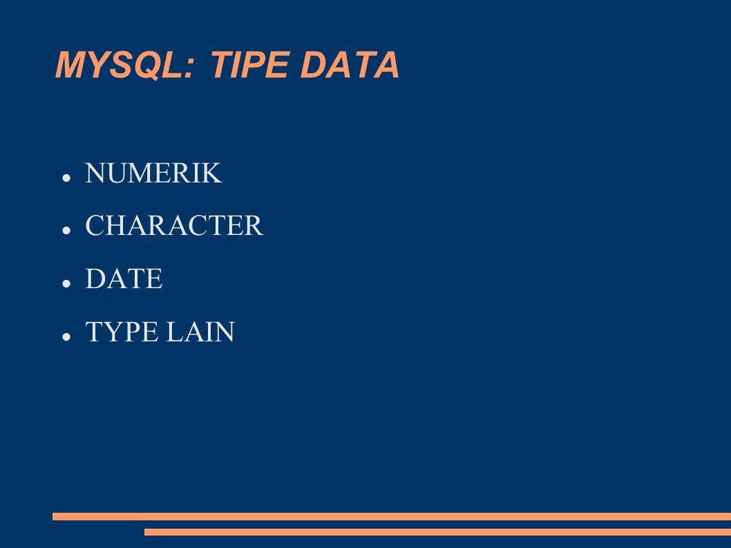NUMERIK INTEGER  TINYINT(128)  SMALLINT(32.10 3 )  MEDIUMINT (8,3.10 9 )  INT (2.10 12 )  BIGINT (9.10 18 ) BOOL DECIMAL FLOAT DOUBLE