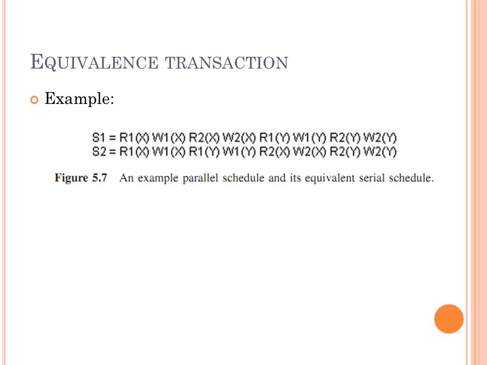 E QUIVALENCE TRANSACTION Example: