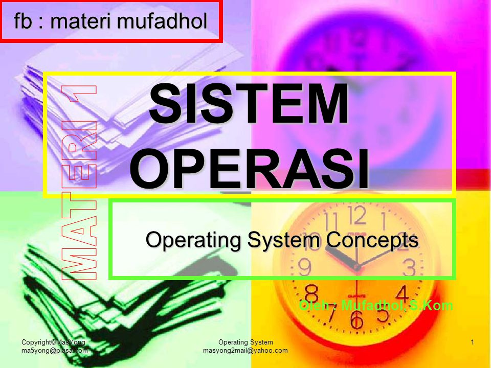 Copyright©MasYong ma5yong@plasa.com Operating System masyong2mail@yahoo.com 1 SISTEM OPERASI Operating System Concepts Oleh : Mufadhol, S.Kom fb : mat