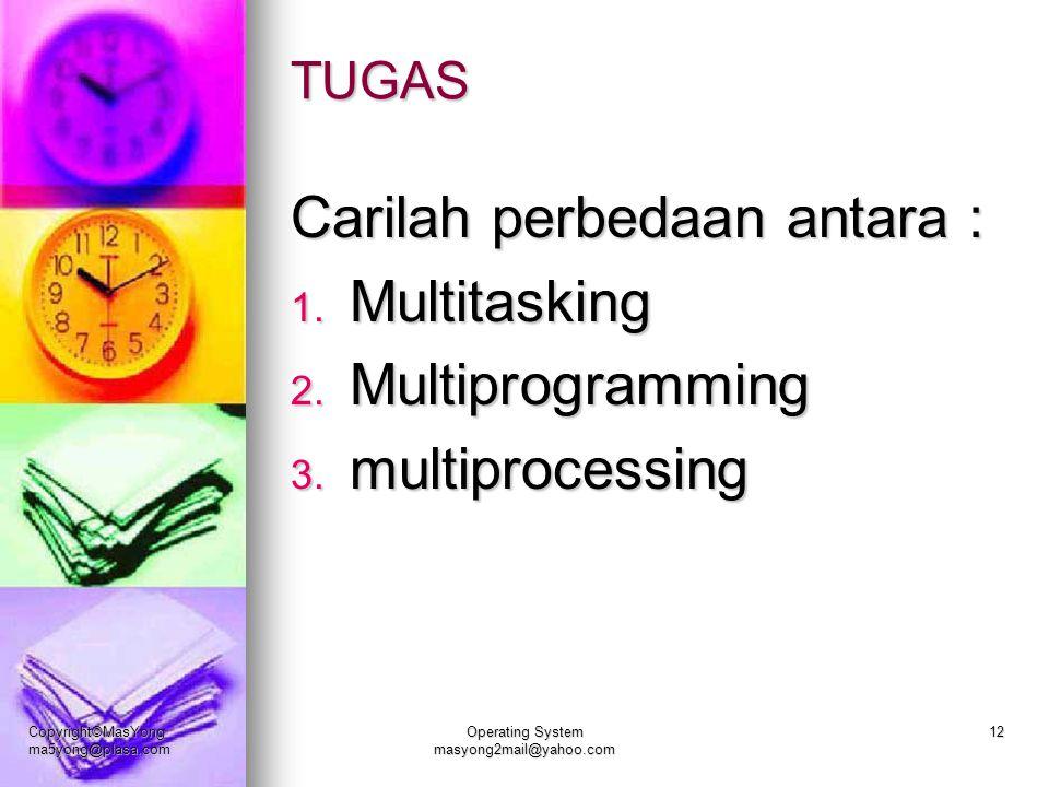 TUGAS Carilah perbedaan antara : 1. Multitasking 2. Multiprogramming 3. multiprocessing Copyright©MasYong ma5yong@plasa.com Operating System masyong2m