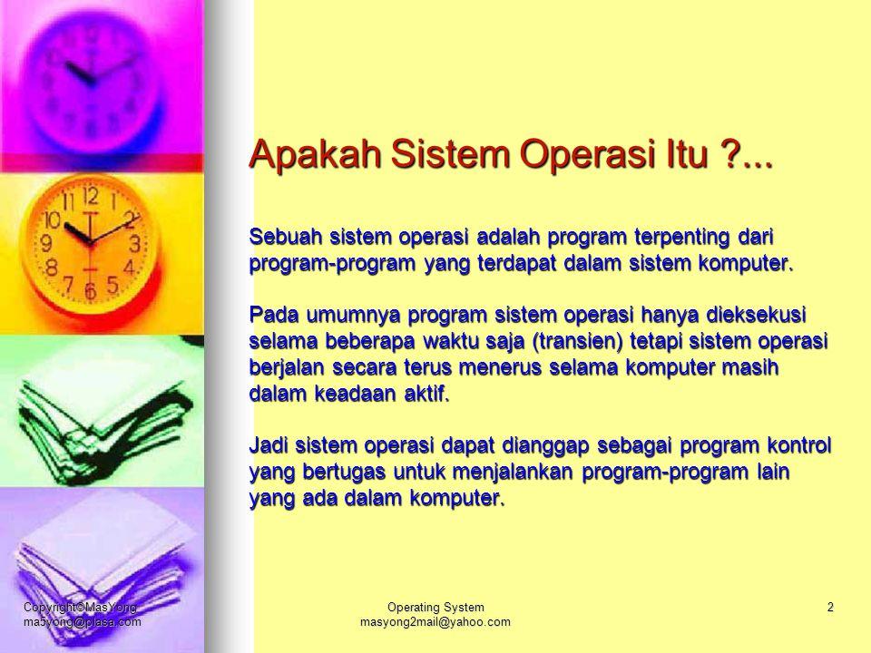 Copyright©MasYong ma5yong@plasa.com Operating System masyong2mail@yahoo.com 2 Apakah Sistem Operasi Itu ?... Sebuah sistem operasi adalah program terp