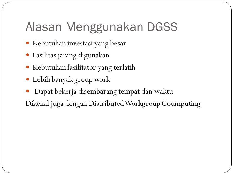 Alasan Menggunakan DGSS Kebutuhan investasi yang besar Fasilitas jarang digunakan Kebutuhan fasilitator yang terlatih Lebih banyak group work Dapat bekerja disembarang tempat dan waktu Dikenal juga dengan Distributed Workgroup Coumputing