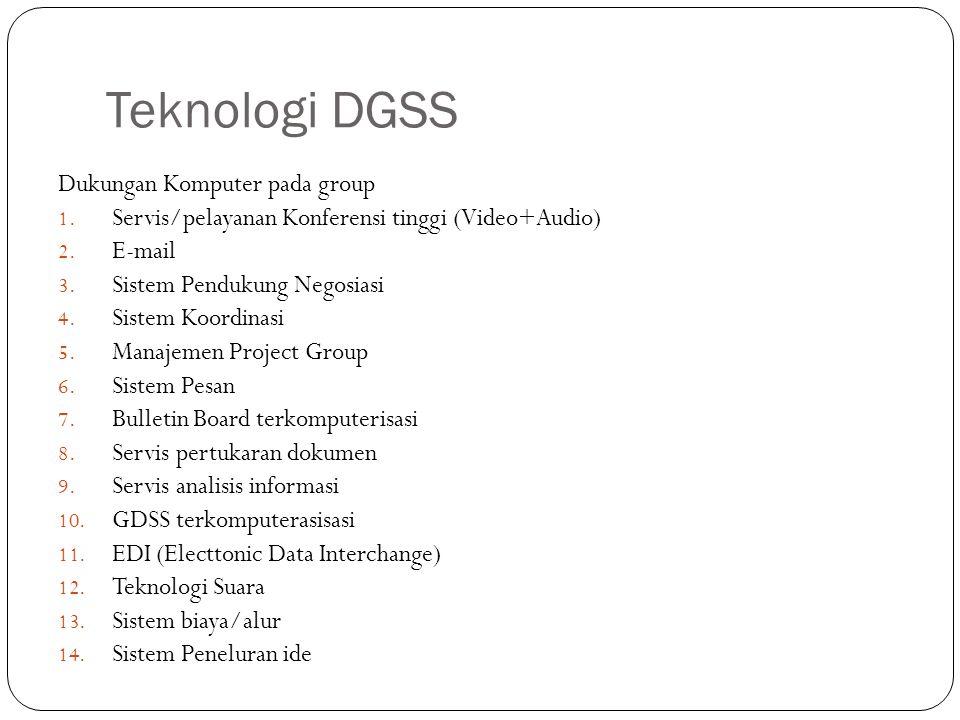 Teknologi DGSS Dukungan Komputer pada group 1. Servis/pelayanan Konferensi tinggi (Video+Audio) 2. E-mail 3. Sistem Pendukung Negosiasi 4. Sistem Koor