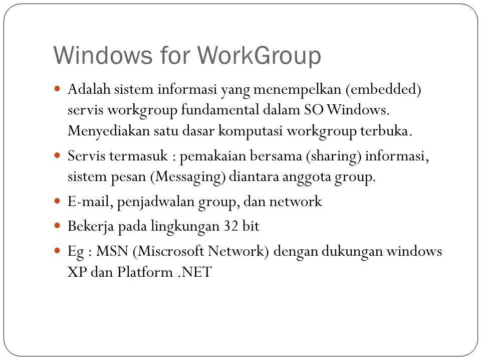 Windows for WorkGroup Adalah sistem informasi yang menempelkan (embedded) servis workgroup fundamental dalam SO Windows. Menyediakan satu dasar komput