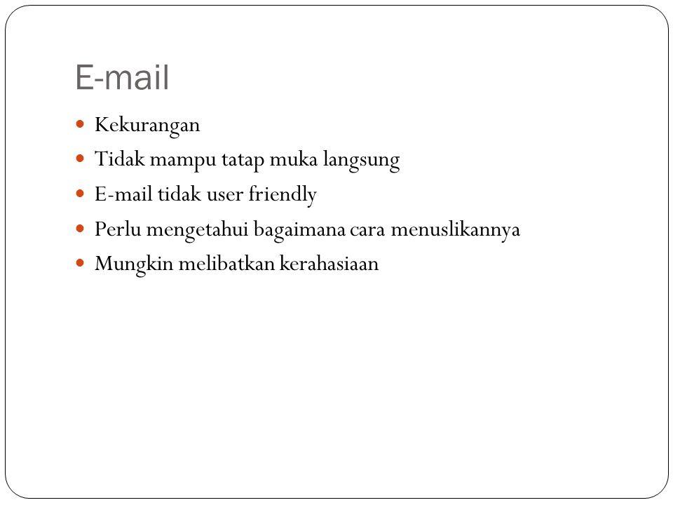 E-mail Kekurangan Tidak mampu tatap muka langsung E-mail tidak user friendly Perlu mengetahui bagaimana cara menuslikannya Mungkin melibatkan kerahasiaan