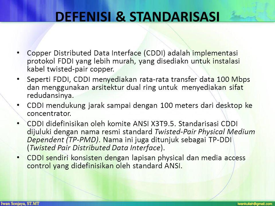 DEFENISI & STANDARISASI Copper Distributed Data Interface (CDDI) adalah implementasi protokol FDDI yang lebih murah, yang disediakn untuk instalasi kabel twisted-pair copper.