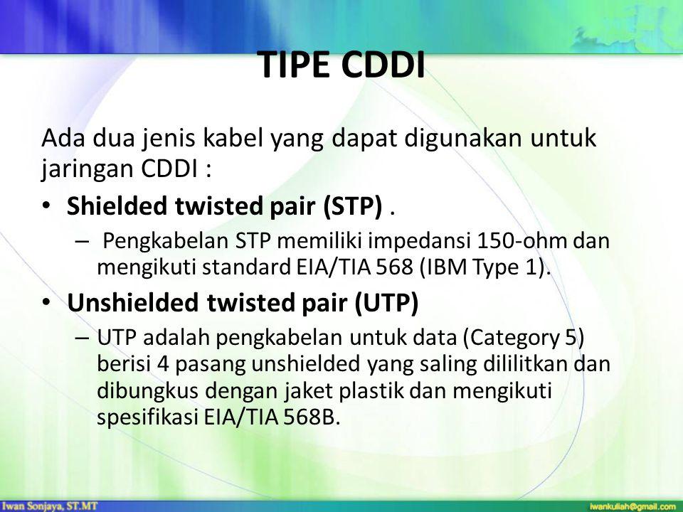 TIPE CDDI Ada dua jenis kabel yang dapat digunakan untuk jaringan CDDI : Shielded twisted pair (STP).
