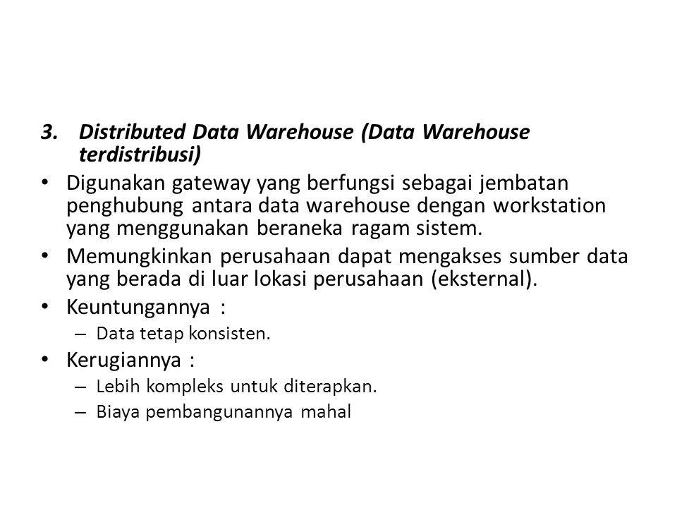 3.Distributed Data Warehouse (Data Warehouse terdistribusi) Digunakan gateway yang berfungsi sebagai jembatan penghubung antara data warehouse dengan