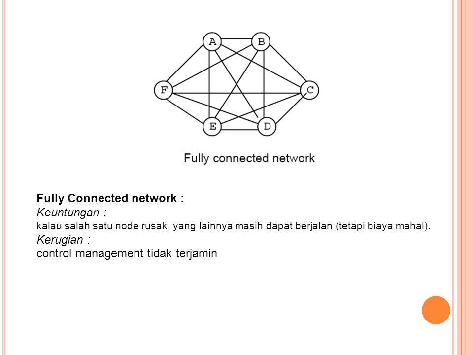 Fully Connected network : Keuntungan : kalau salah satu node rusak, yang lainnya masih dapat berjalan (tetapi biaya mahal). Kerugian : control managem