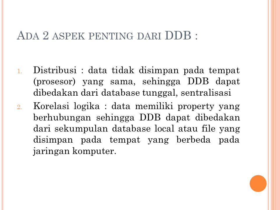 A DA 2 ASPEK PENTING DARI DDB : 1. Distribusi : data tidak disimpan pada tempat (prosesor) yang sama, sehingga DDB dapat dibedakan dari database tungg