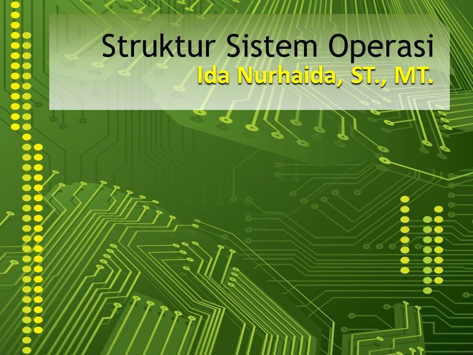 Struktur Sistem UNIX (1) Memiliki struktur yang terbatas Terdiri dari 2 bagian : – Kernel : Berada dibawah antarmuka system call dan diatas hardware Menyediakan sistem berkas, penjadualan CPU, manajemen memori, device driver, dan fungsi OS lainnya – Program Sistem