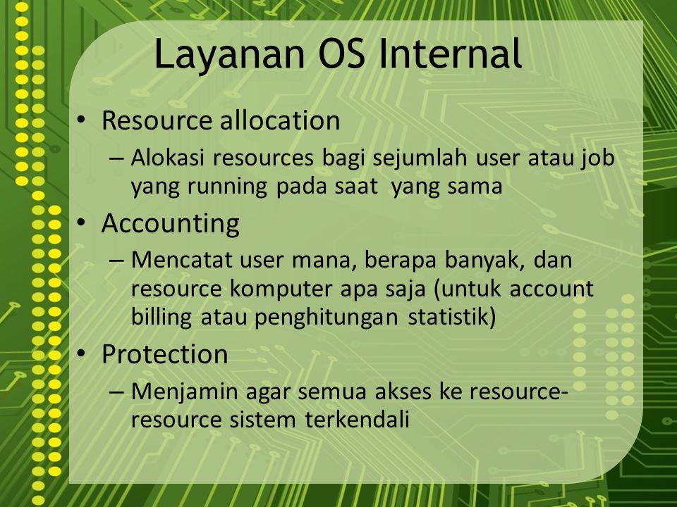 Layanan OS Internal Resource allocation – Alokasi resources bagi sejumlah user atau job yang running pada saat yang sama Accounting – Mencatat user ma