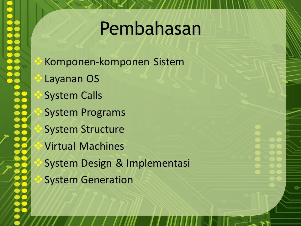 Pembahasan  Komponen-komponen Sistem  Layanan OS  System Calls  System Programs  System Structure  Virtual Machines  System Design & Implementa