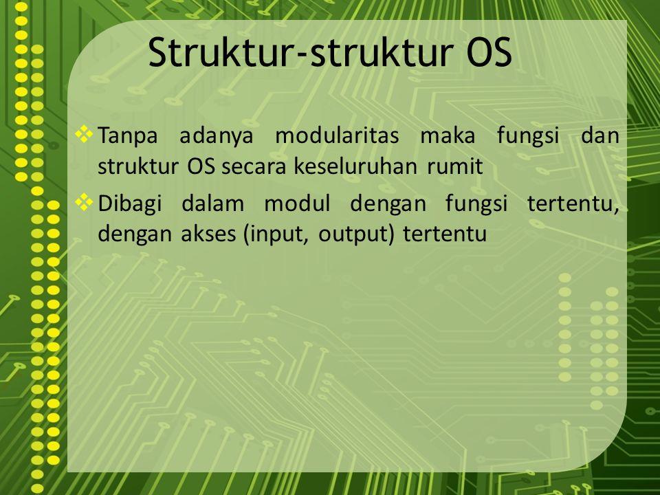 Struktur-struktur OS  Tanpa adanya modularitas maka fungsi dan struktur OS secara keseluruhan rumit  Dibagi dalam modul dengan fungsi tertentu, deng