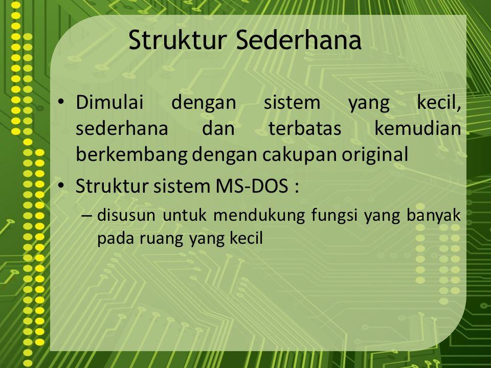 Struktur Sederhana Dimulai dengan sistem yang kecil, sederhana dan terbatas kemudian berkembang dengan cakupan original Struktur sistem MS-DOS : – dis