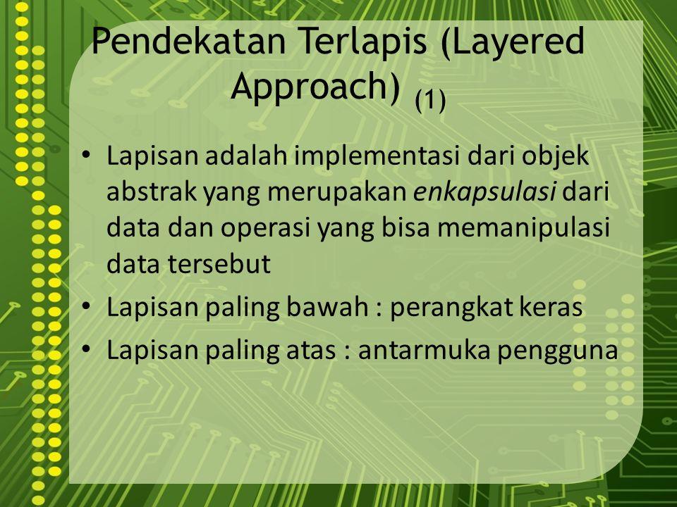 Pendekatan Terlapis (Layered Approach) (1) Lapisan adalah implementasi dari objek abstrak yang merupakan enkapsulasi dari data dan operasi yang bisa m
