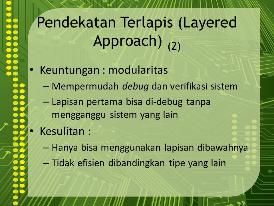 Pendekatan Terlapis (Layered Approach) (2) Keuntungan : modularitas – Mempermudah debug dan verifikasi sistem – Lapisan pertama bisa di-debug tanpa me