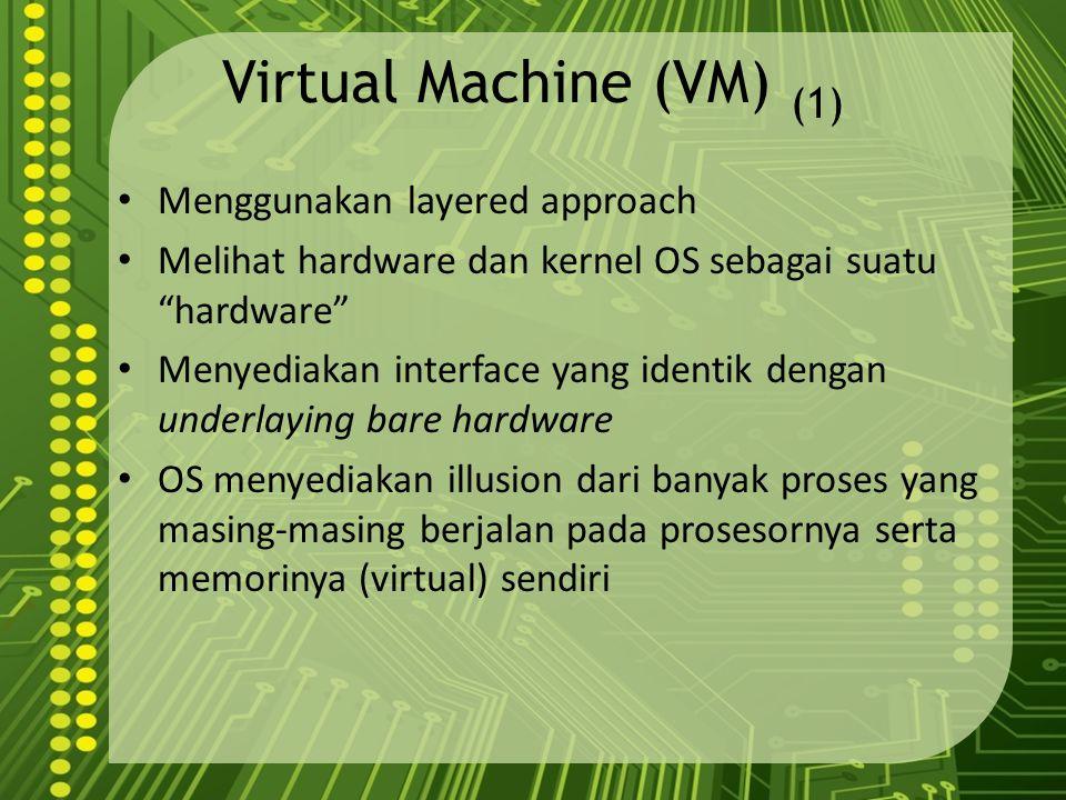 "Virtual Machine (VM) (1) Menggunakan layered approach Melihat hardware dan kernel OS sebagai suatu ""hardware"" Menyediakan interface yang identik denga"