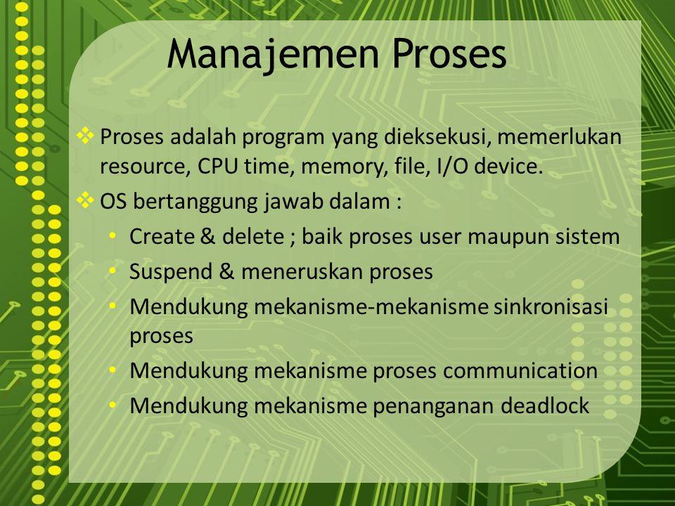 Manajemen Proses  Proses adalah program yang dieksekusi, memerlukan resource, CPU time, memory, file, I/O device.  OS bertanggung jawab dalam : Crea