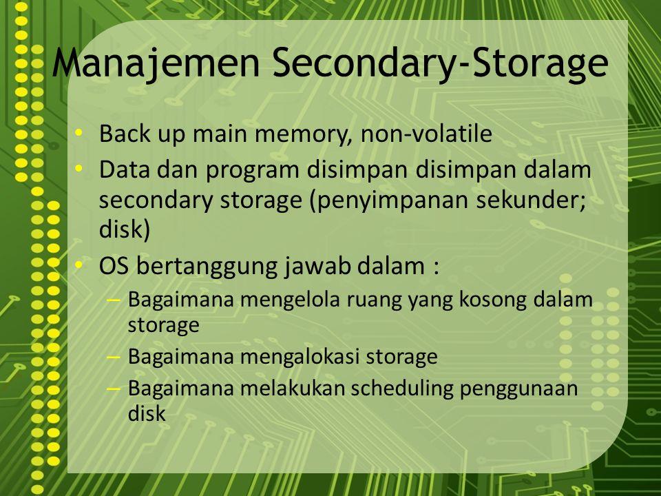 Pemrograman Sistem Pemrograman sistem menyediakan lingkungan yang memungkinkan pengembangan program dan eksekusi berjalan dengan baik Dapat dikategorikan : – Manipulasi Berkas (File) – Informasi Status : tanggal, jam, jumlah memori, disk, dll – Modifikasi Berkas – Mendukung bahasa pemrograman : kompilator, assembly, interpreter – Loading & eksekusi program – Komunikasi : menyediakan mekanisme komunikasi antara proses, user dan sistem komputer yang berbeda Dari sisi user, operasional sistem dilakukan dengan system program, bukan system call