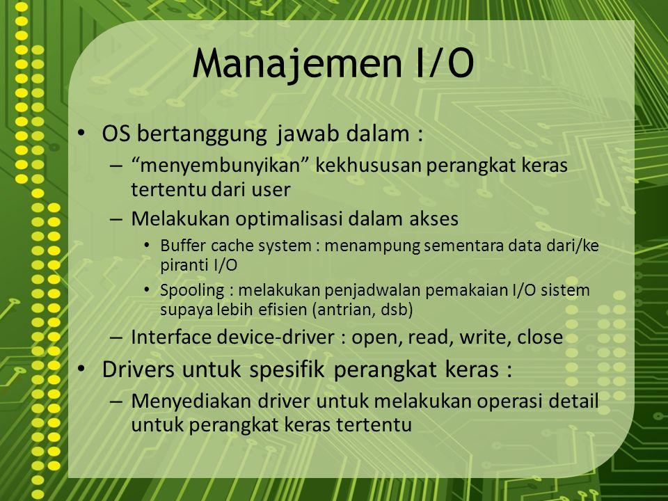 """Manajemen I/O OS bertanggung jawab dalam : – """"menyembunyikan"""" kekhususan perangkat keras tertentu dari user – Melakukan optimalisasi dalam akses Buffe"""