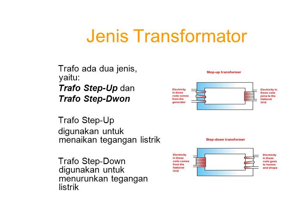 Jenis Transformator Trafo ada dua jenis, yaitu: Trafo Step-Up dan Trafo Step-Dwon Trafo Step-Up digunakan untuk menaikan tegangan listrik Trafo Step-D