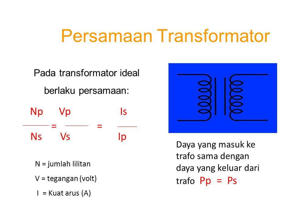 Persamaan Transformator N = jumlah lilitan V = tegangan (volt) I = Kuat arus (A) Daya yang masuk ke trafo sama dengan daya yang keluar dari trafo Pp =