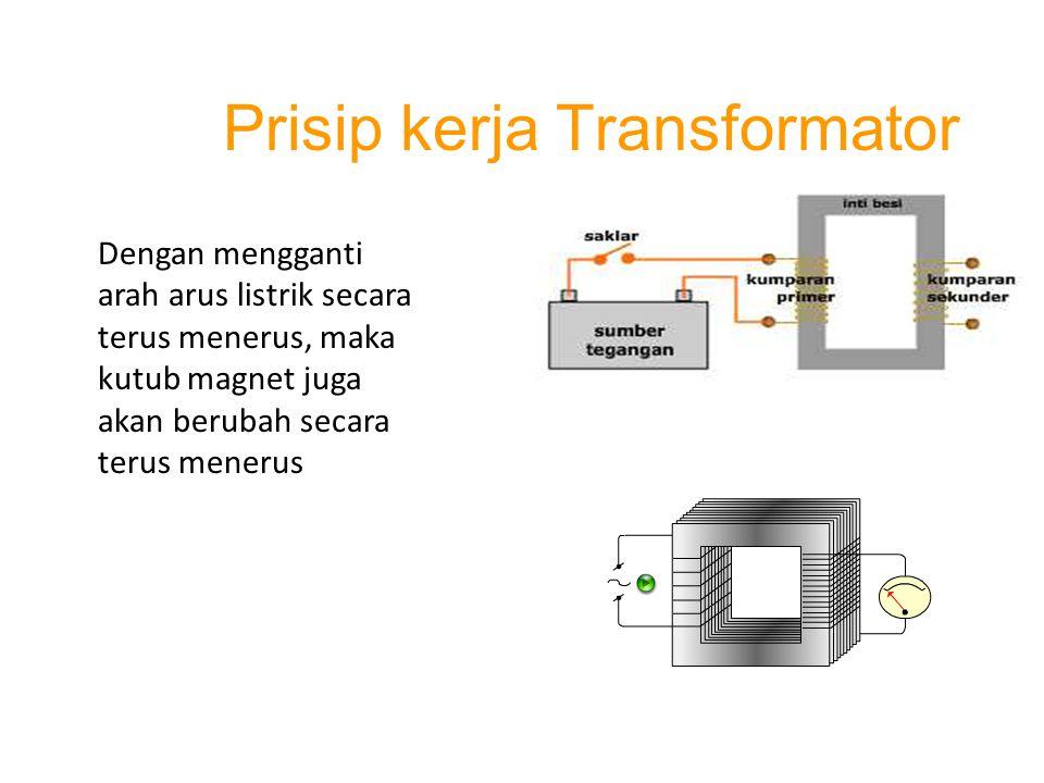 Dengan mengganti arah arus listrik secara terus menerus, maka kutub magnet juga akan berubah secara terus menerus Prisip kerja Transformator