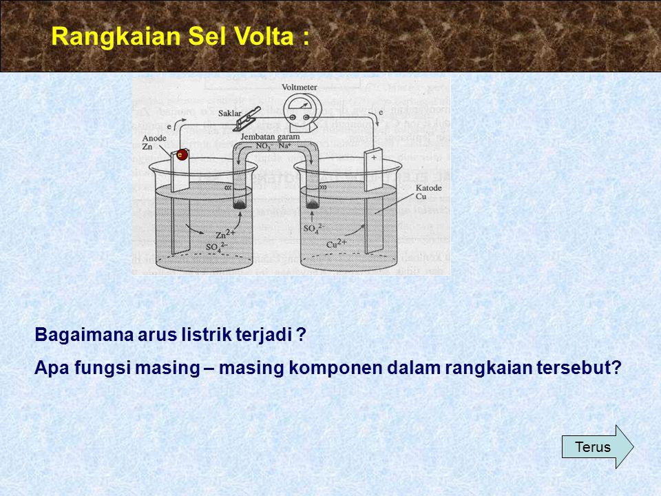 SEL VOLTA Sel Volta adalah : rangkaian sel yang dapat menghasilkan arus listrik. Dalam sel tersebut terjadi perubahan dari reaksi redoks menghasilkan