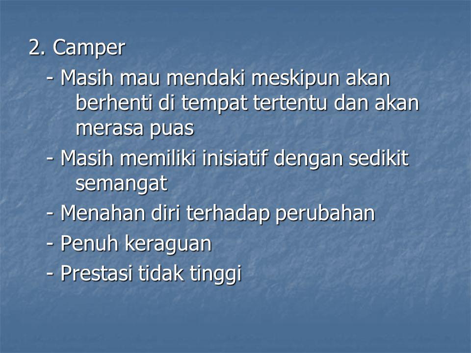 2. Camper - Masih mau mendaki meskipun akan berhenti di tempat tertentu dan akan merasa puas - Masih memiliki inisiatif dengan sedikit semangat - Mena