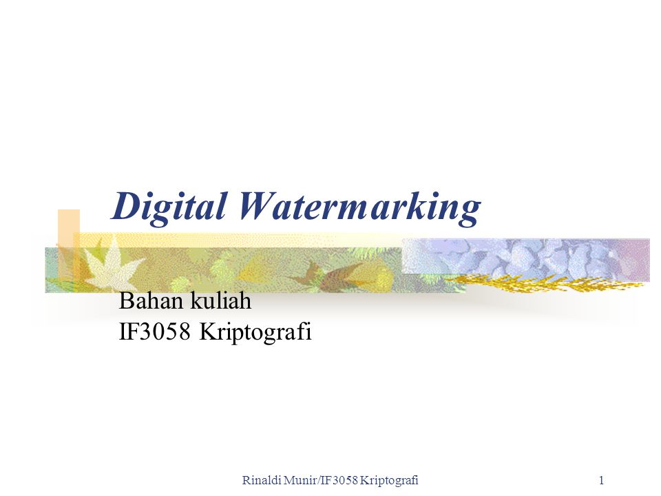 Rinaldi Munir/IF3058 Kriptografi 72 Digital Watermarking - Images Digimarc ImageBridge Inserts imperceptible digital watermarks onto images Digimarc MarcSpider Tracks all images with Digimarc's watermark on the Internet Searches over 50 million images on the Internet a month