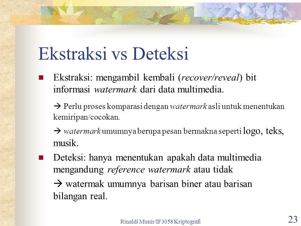 Rinaldi Munir/IF3058 Kriptografi 23 Ekstraksi vs Deteksi Ekstraksi: mengambil kembali (recover/reveal) bit informasi watermark dari data multimedia.
